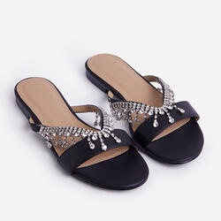 Lover Diamante Detail Flat Slider Sandals In Black Faux Leather