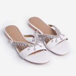 Lover Diamante Detail Flat Slider Sandals In White Faux Leather