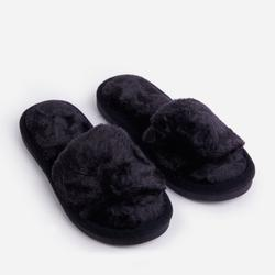 Kaz Fluffy Slipper In Black Faux Fur