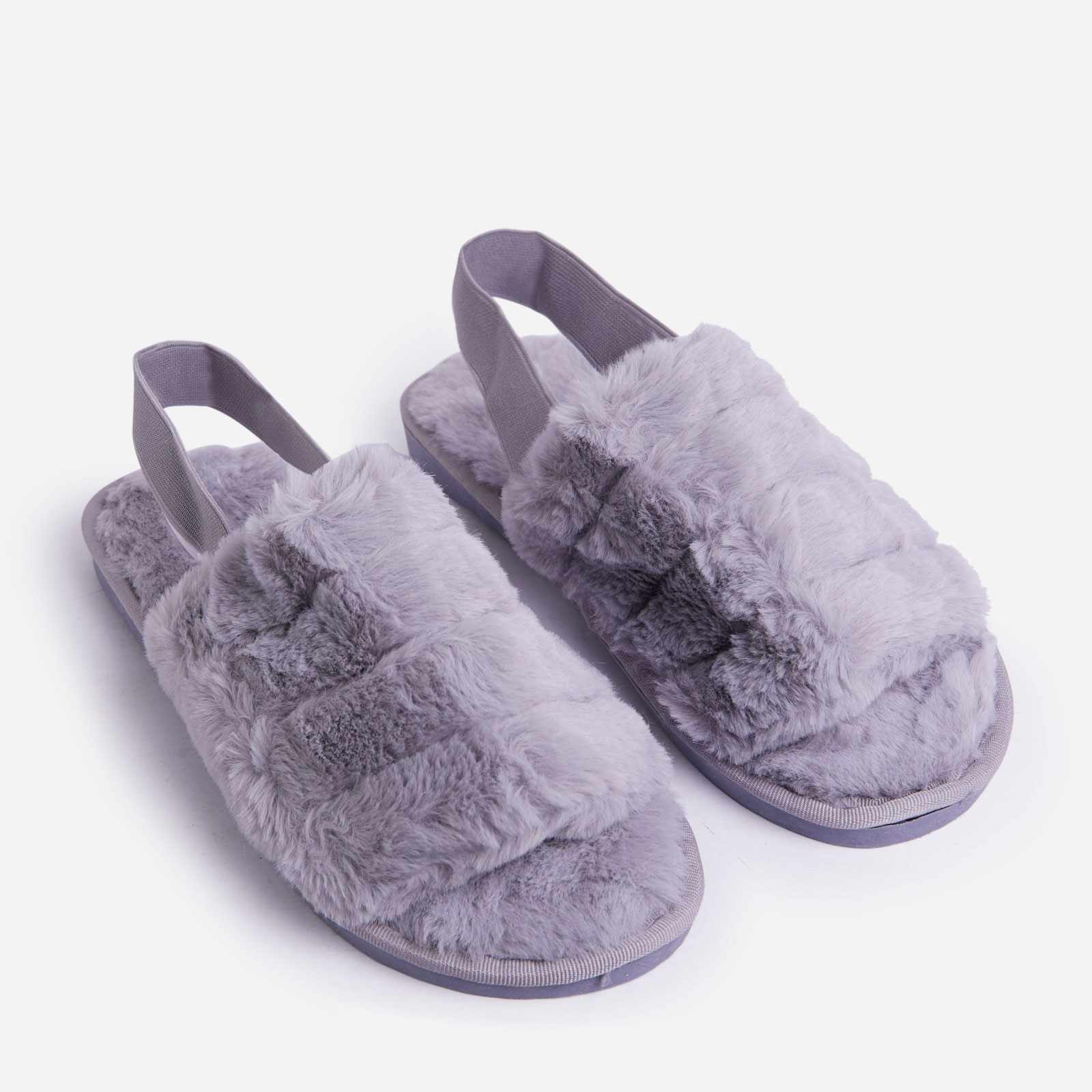 Lexus Fluffy Stripe Slipper In Grey Faux Fur