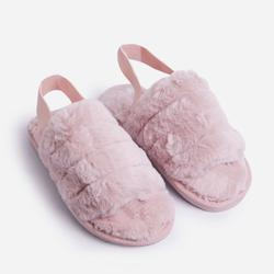 Lexus Fluffy Stripe Slipper In Pink Faux Fur