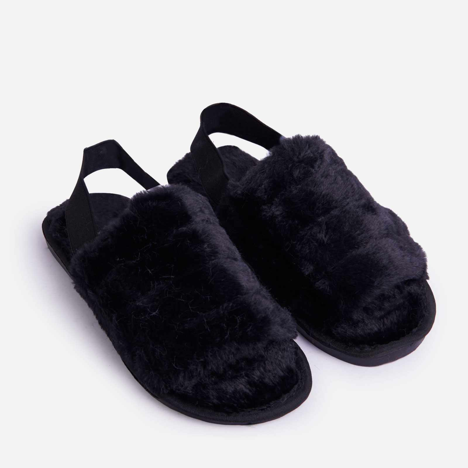 Lexus Stripe Fluffy Slipper In Black Faux Fur