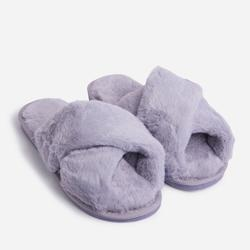 Roma Fluffy Crossover Slipper In Grey Faux Fur