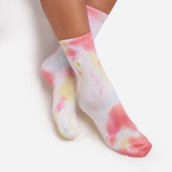 Flower Detail Tie Dye Sport Socks in Yellow Multi