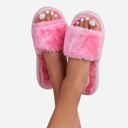 Kaz Fluffy Slipper In Pink Faux Fur