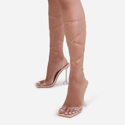 Katia Lace Up Square Toe Clear Perspex Pyramid Heel In Nude Patent