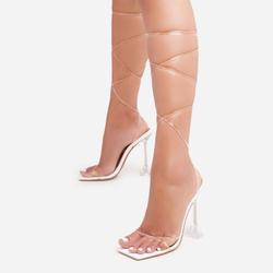 Katia Lace Up Square Toe Clear Perspex Pyramid Heel In White Patent