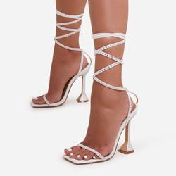 Yaya Diamante Detail Lace Up Square Toe Pyramid Heel In White Faux Leather