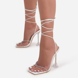 Romantic Diamante Detail Lace Up Square Toe Clear Perspex Pyramid Heel In White Faux Leather