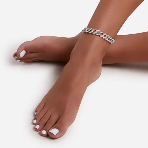 Zigzag Diamante Anklet In Silver