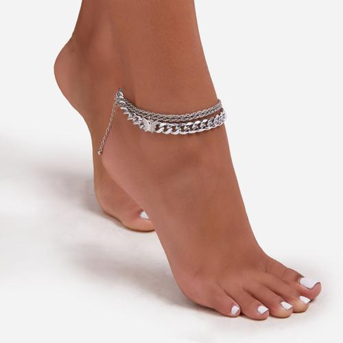 Butterfly Detail Chain Anklet In Silver