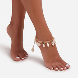 Shell Detail Anklet In Gold