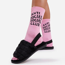 Anti Social Slogan Sport Sock In Pink