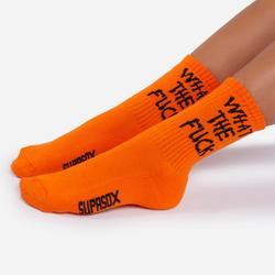 WTF Slogan Sport Sock In Orange