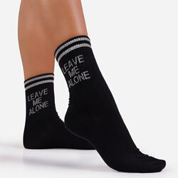 Leave Me Alone Slogan Sports Sock In Black