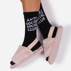 Anti Social Slogan Sport Sock In Black