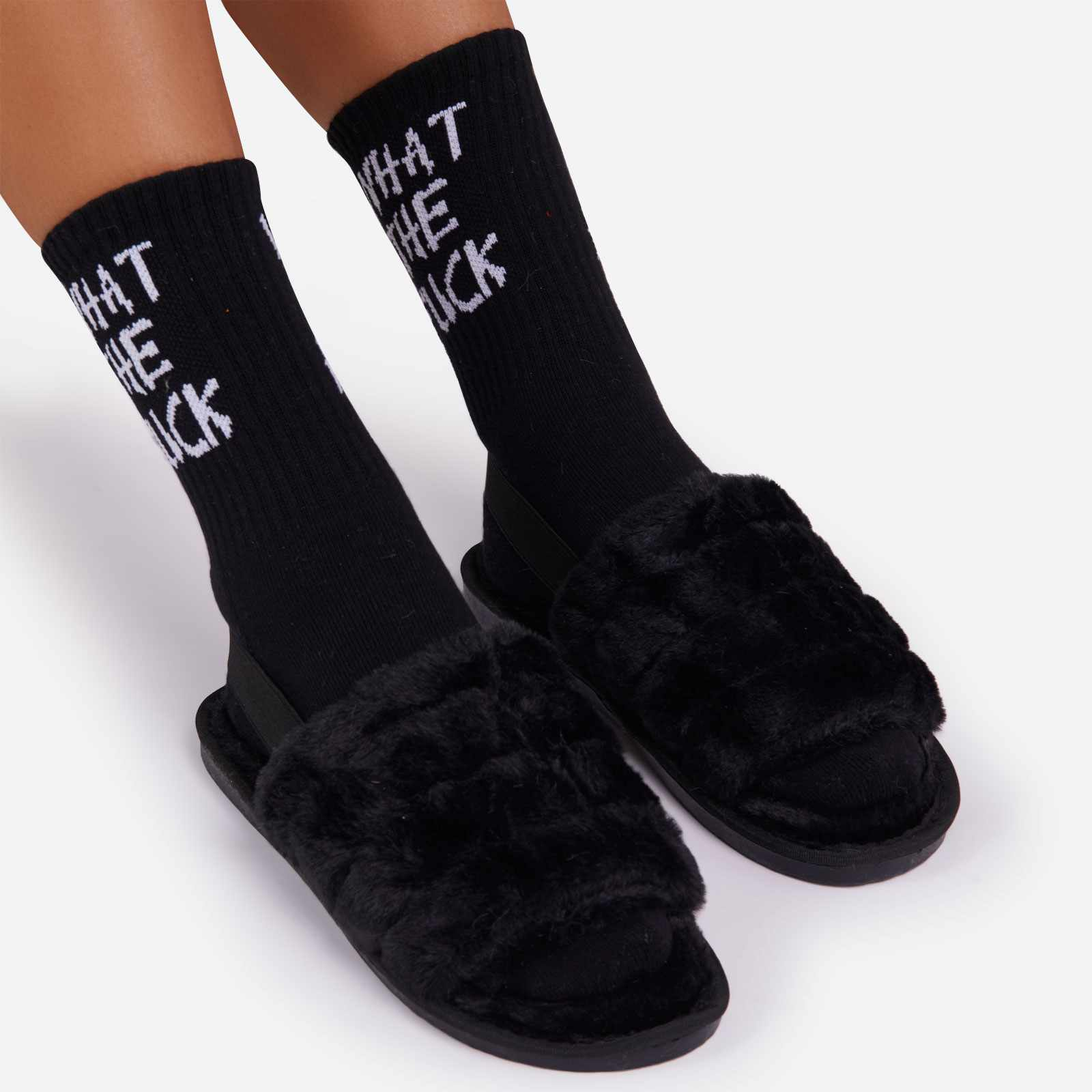 WTF Slogan Sport Sock In Black
