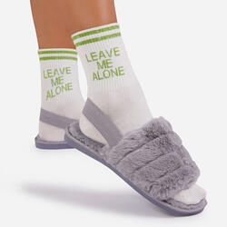 Leave Me Alone Green Slogan Sports Sock In White
