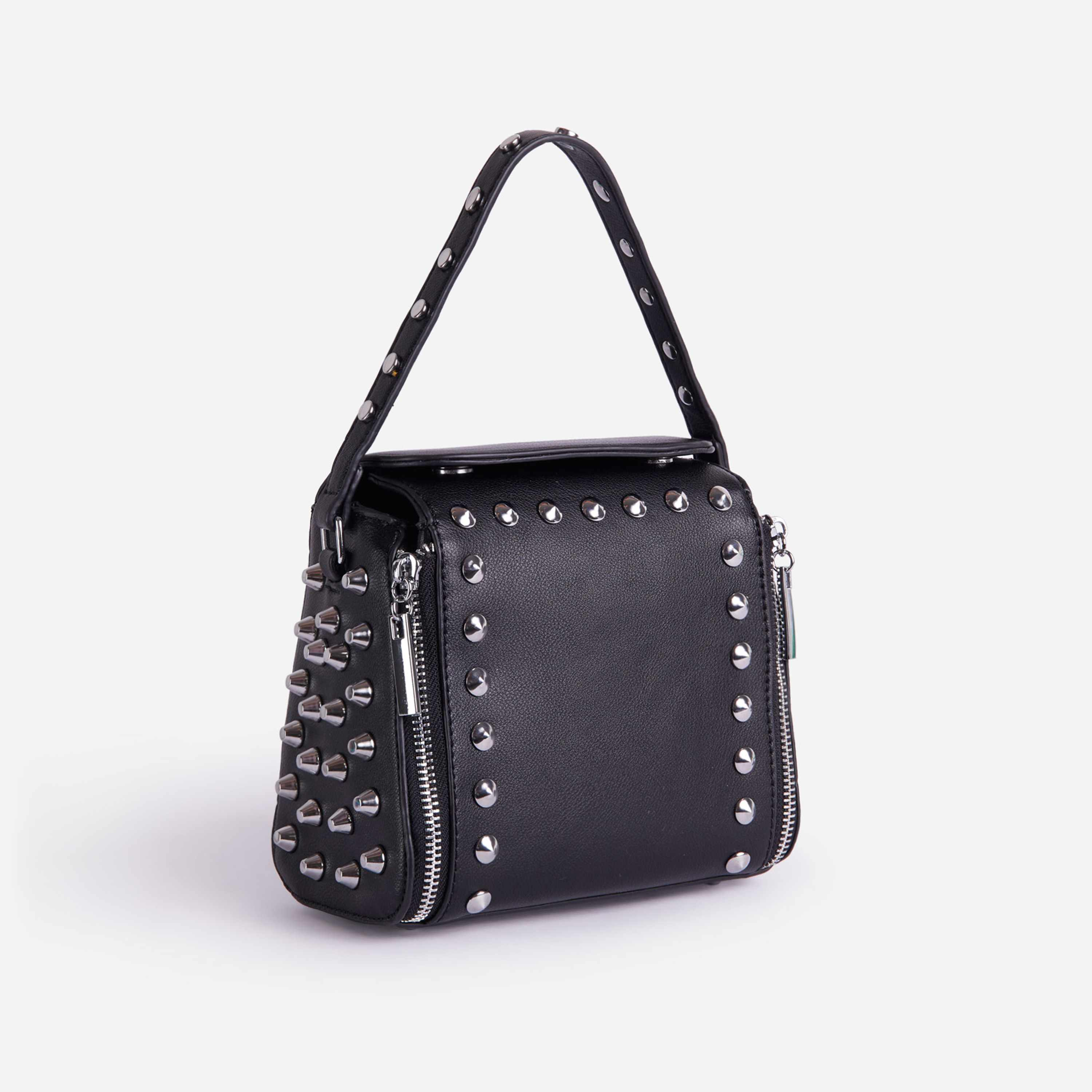 Hailee Studded Detail Cross Body Bag In Black Faux Leather