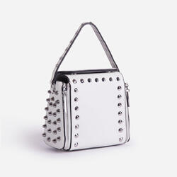 Hailee Studded Detail Cross Body Bag In White Faux Leather