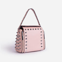 Hailee Studded Detail Cross Body Bag In Pink Faux Leather