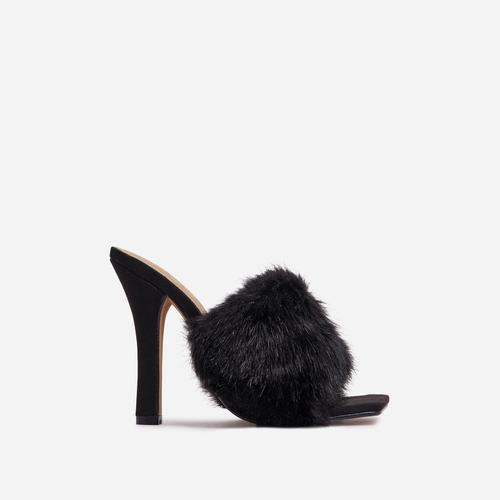 Peazy Fluffy Faux Fur Square Peep Toe Heel Mule In Black Faux Suede
