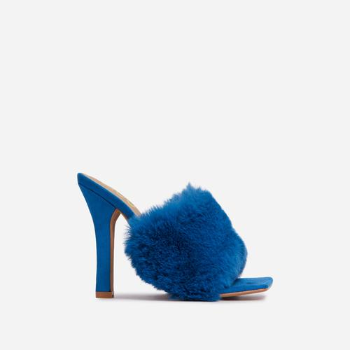 Peazy Fluffy Faux Fur Square Peep Toe Heel Mule In Blue Faux Suede