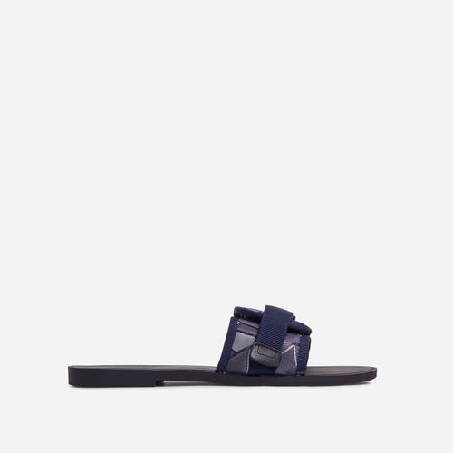 Shades Buckle Detail Flat Slider Sandal In Blue Camouflage Print