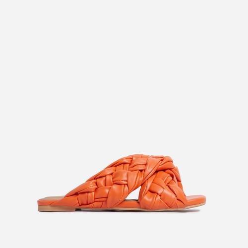 Vista Woven Cross Strap Square Toe Flat Slider Sandal In Orange Faux Leather