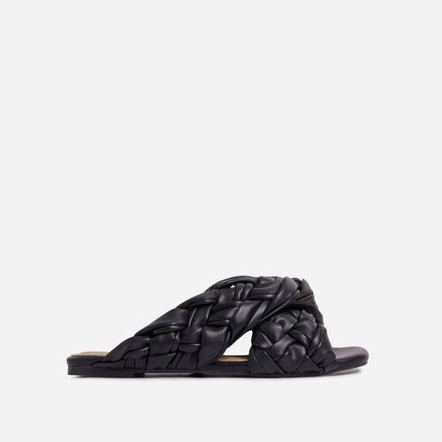 Vista Woven Cross Strap Square Toe Flat Slider Sandal In Black Faux Leather