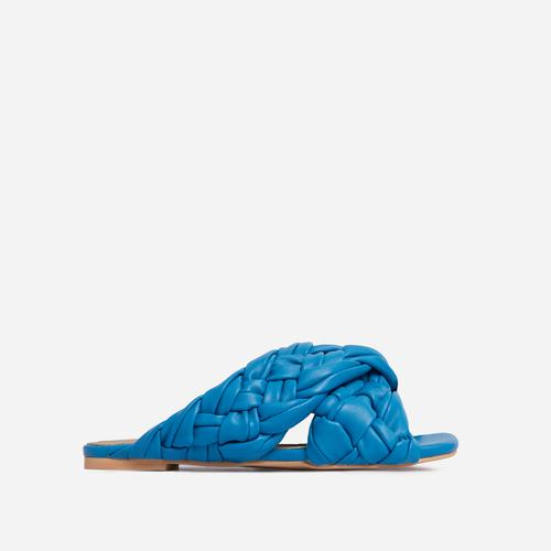 Vista Woven Cross Strap Square Toe Flat Slider Sandal In Blue Faux Leather