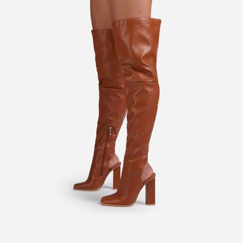 Towny Cut Out Block Heel Detail Over The Knee Thigh High Long Boot In Tan Brown Faux Leather