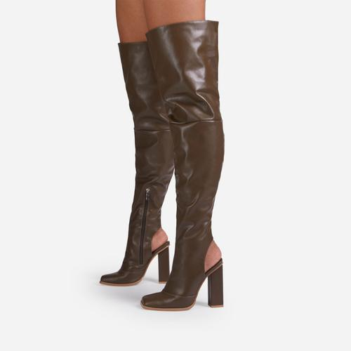 Towny Cut Out Block Heel Detail Over The Knee Thigh High Long Boot In Khaki Green Faux Leather