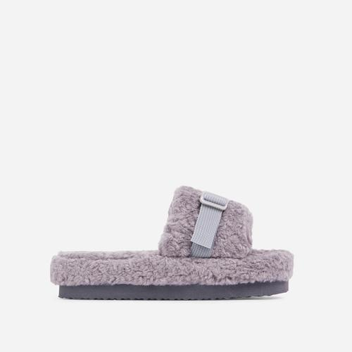 Buzzing Buckle Detail Flatform Slider Sandal In Grey Faux Fur