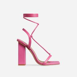 Scandalous Lace Up Square Toe Block Heel In Pink Faux Leather