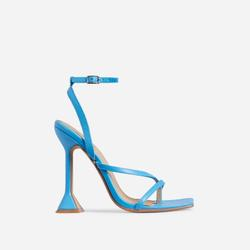 Freestyle Square Toe Pyramid Heel In Blue Faux Leather