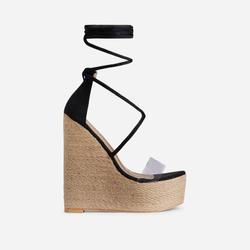 Fever Lace Up Perspex Espadrille Wedge Platform Heel In Black Faux Suede