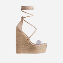 Fever Lace Up Perspex Espadrille Wedge Platform Heel In Nude Faux Suede