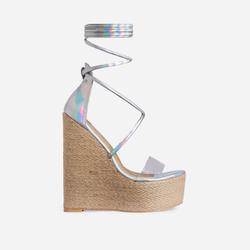 Fever Lace Up Perspex Espadrille Wedge Platform Heel In Silver Holographic Faux Leather