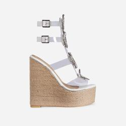 Wildest Diamante Detail Perspex Caged Espadrille Wedge Platform Heel In White Faux Leather