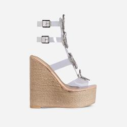 Wildest Diamante Detail Perspex Caged Espadrille Wedge Platform Heel In Nude Patent