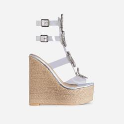 Wildest Diamante Detail Perspex Caged Espadrille Wedge Platform Heel In Silver Holographic Faux Leather