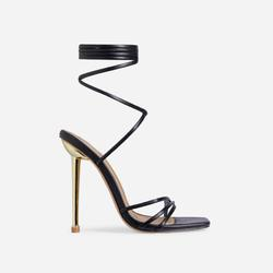 Word-Up Lace Up Square Toe Heel In BlackFaux Leather