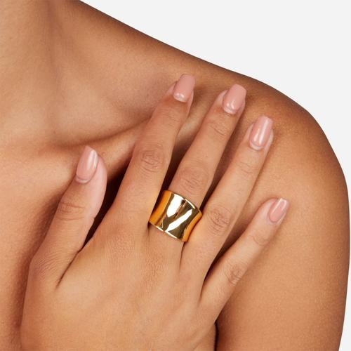 Hammered Detail Chunky Ring In Gold