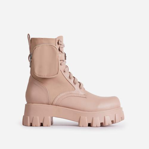 Flame Pocket Detail Lace Up Chunky Sole Ankle Biker Boot In Nude Faux Leather
