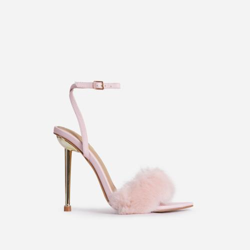 Plush-Dreams Pointed Toe Fluffy Metallic Heel In Pink Faux Leather