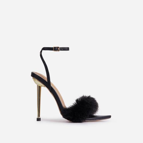 Plush-Dreams Pointed Toe Fluffy Metallic Heel In Black Faux Leather