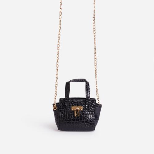 Penelope Kid's Tote Bag In Black Croc Print Patent
