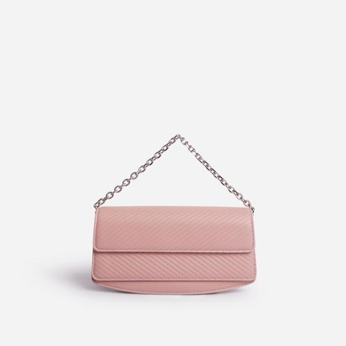 Carbo Rectangular Chain Detail Cross Body Bag In Pink Faux Leather