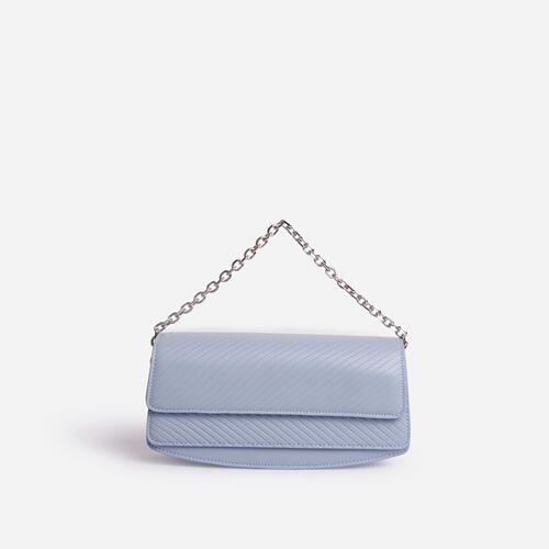 Carbo Rectangular Chain Detail Cross Body Bag In Blue Faux Leather